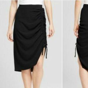 Mossimo Womens Asymmetrical Drawstring Skirt Black